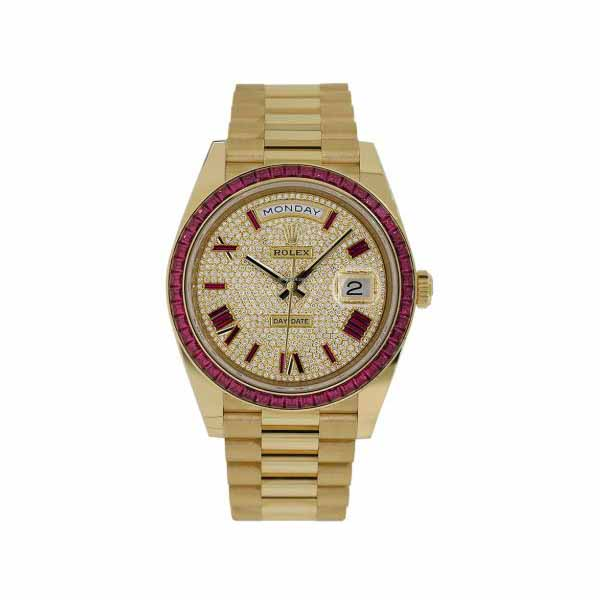 ROLEX DAY-DATE DIAMOND DIAL WITH RED SAPPHIRE BEZEL 40MM 18KT YELLOW GOLD MEN'S WATCH