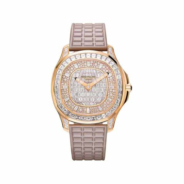 PATEK PHILIPPE AQUANAUT LUCE HAUTE JOAILLERIE 18K ROSE GOLD LADIES WATCH Ref. 5062/450R-001