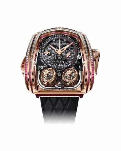 JACOB & CO. NEW & LIMITED EDITION 18 PCS TWIN TURBO FURIOUS BAGUETTE 57MM X 52MM 18KT ROSE GOLD MEN'S WATCH