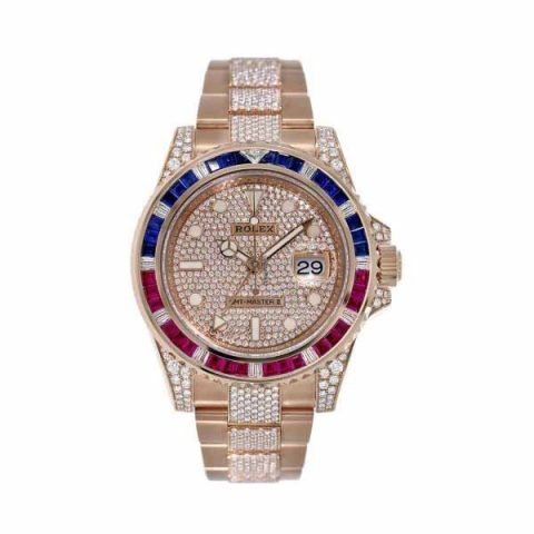PROFESSIONAL ROLEX GMT MASTER II PAVE DIAMOND DIAL 40MM 18KT ROSE GOLD MEN'S WATCH