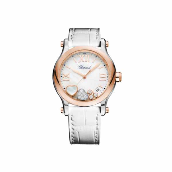 CHOPARD HAPPY HEARTS 36MM 18KT ROSE GOLD/STAINLESS STEEL UNISEX WATCH