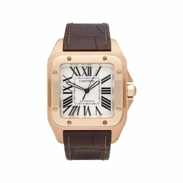 CARTIER SANTOS 100 LARGE 38MM 18KT ROSE GOLD MEN'S WATCH