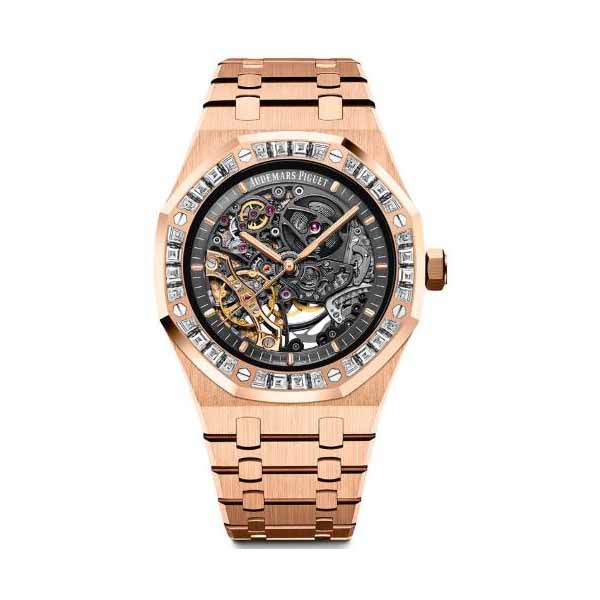 AUDEMARS PIGUET ROYAL OAK 18KT ROSE GOLD 41MM DIAMOND BEZEL MEN'S WATCH