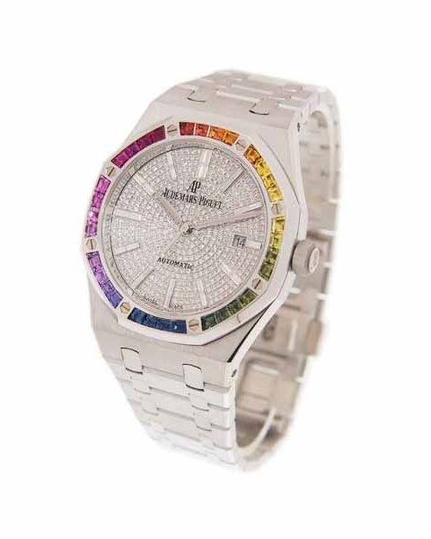 AUDEMARS PIGUET ROYAL OAK RAINBOW AUTOMATIC DIAMOND WHITE GOLD UNISEX WATCH