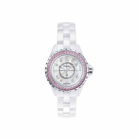 CHANEL J12 29MM PINK SAPPHIRES LADIES WATCH