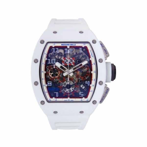 RICHARD MILLE ASIA EXCLUSIVE WHITE NTPT CARBON CERAMIC CHRONOGRAPH 50MM X 40MM MEN'S WATCH