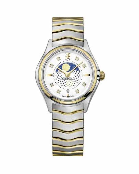 EBEL WAVE MOONPHASE DIAMOND SILVER DIAL 30MM TWO-TONE LADIES WATCH