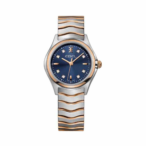 EBEL WAVE 30MM STAINLESS STEEL / 18K ROSE GOLD LADIES WATCH