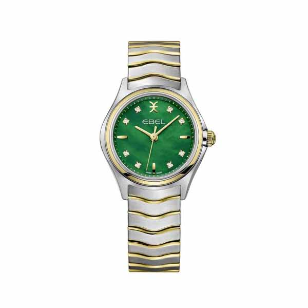 EBEL WAVE 30MM STAINLESS STEEL / 18K YELLOW GOLD LADIES WATCH