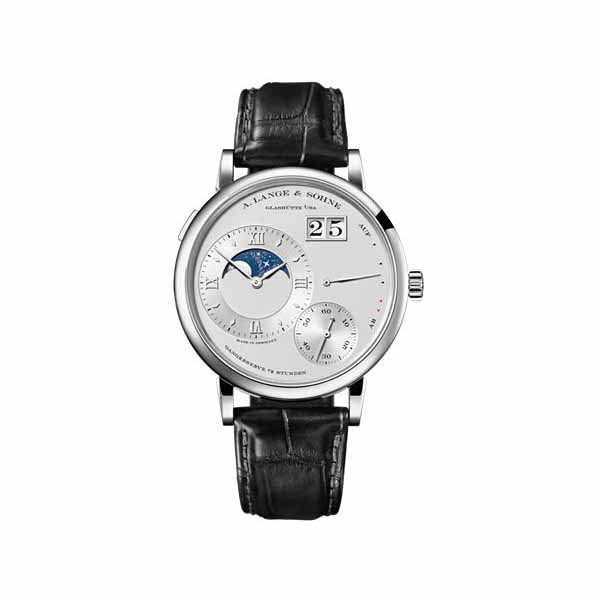 A LANGE & SOHNE GRAND LANGE 1 MOONPHASE SILVER DIAL 41MM PLATINUM MEN'S WATCH