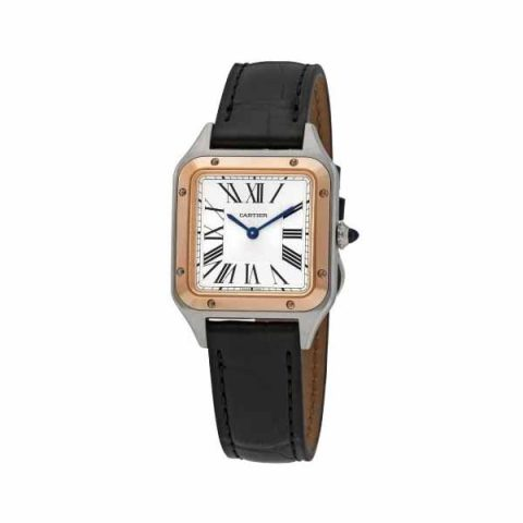 CARTIER SANTOS DUMONT SMALL 27.5MM X 38MM STAINLESS STEEL/18K ROSE GOLD LADIES WATCH
