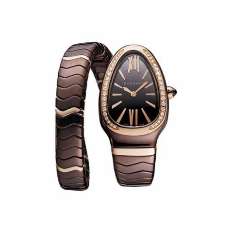 BVLGARI SERPENTI 35MM TREATED CERAMIC & 18K ROSE GOLD LADIES WATCH