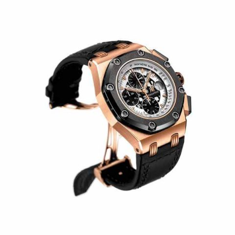 AUDEMARS PIGUET BARRICHELLO II CHRONOGRAPH 42MM 18K ROSE GOLD WITH TITANIUM AND CERAMIC ON CROCODILE LEATHER STRAP WITH MEGA TAPISSERIE RACING DIAL MEN'S WATCH