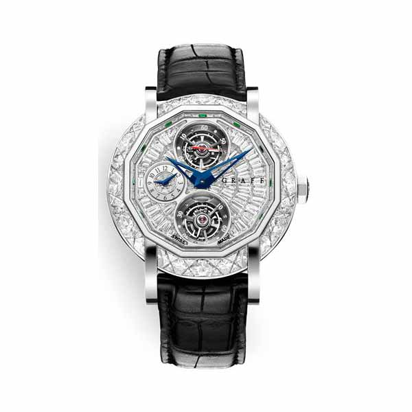 GRAFF DOUBLE TOURBILLON GMT 47MM FULLY SET DIAMOND 18K WHITE GOLD MEN'S WATCH