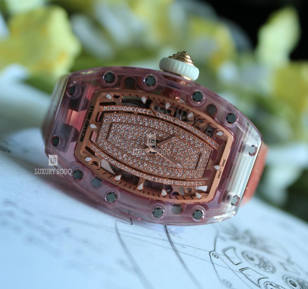 RICHARD MILLE PINK SAPPHIRE DIAMOND DIAL 45.66MM X 31.40MM X 11.85MM LADIES WATCH