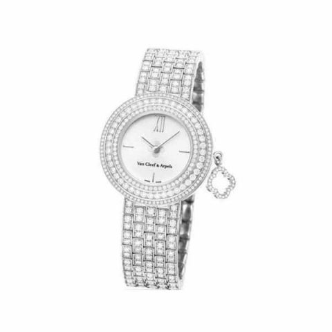 VAN CLEEF AND ARPELS CHARMS SERIES 32MM 18K WHITE GOLD LADIES WATCH