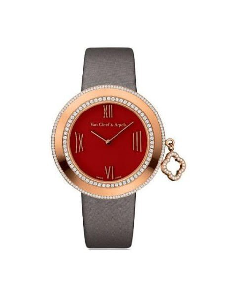 VAN CLEEF & ARPELS CHARMS RED CARNELIAN DIAL 32MM 18K ROSE GOLD LADIES WATCH