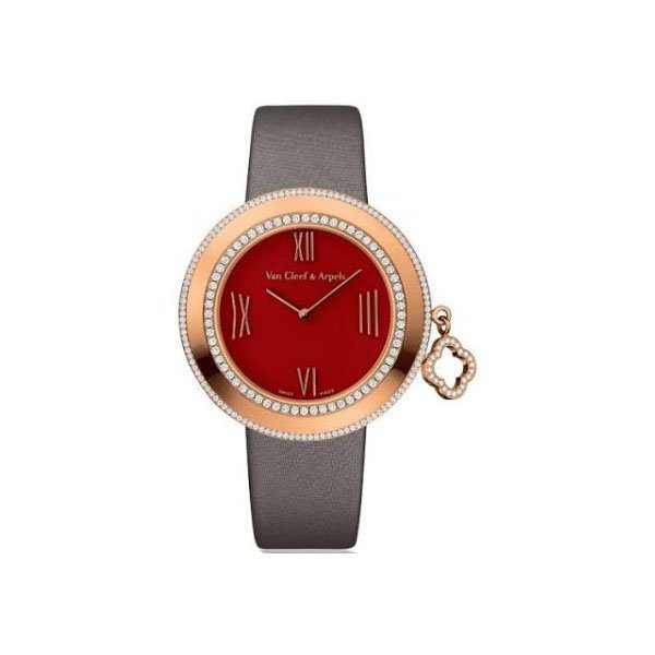 VAN CLEEF AND ARPELS CHARMS RED CARNELIAN DIAL 32MM 18K ROSE GOLD LADIES WATCH