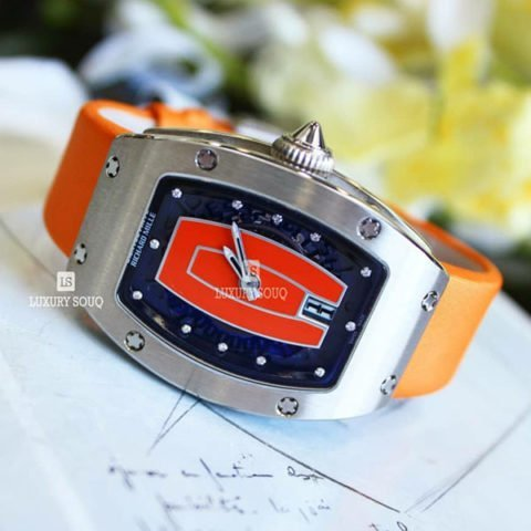 RICHARD MILLE 45.66MM X 31.40MM 18K WHITE GOLD ORANGE LIP LADIES WATCH