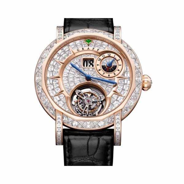GRAFF COLLECTION GRAND DATE DUAL TIME TOURBILLON 46MM 18K ROSE GOLD MEN'S WATCH