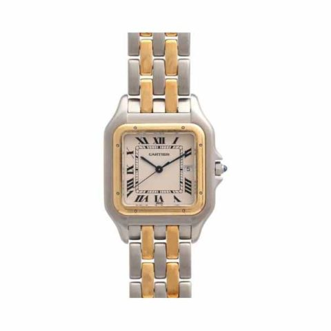 CARTIER PANTHERE 28.5MM STAINLESS STEEL & 18K YELLOW GOLD LADIES WATCH