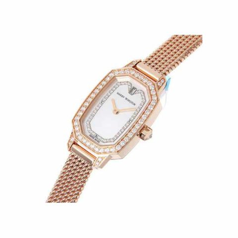 HARRY WINSTON EMERALD 17.5MM X 24MM 18K ROSE GOLD WITH DIAMONDS LADIES WATCH