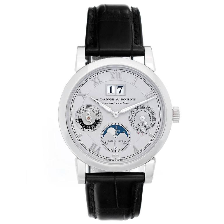 A LANGE & SOHNE LANGEMATIK PEPRETUAL 38.5MM PLATINUM MEN'S WATCH