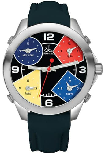 JACOB & CO FIVE TIME ZONE 40MM STAINLESS STEEL MEN'S WATCH