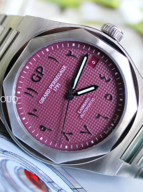 GIRARD PERREGAUX LAUREATO PINK ARABIC DIAL LIMITED EDITION 42MM STAINLESS STEEL MEN'S WATCH