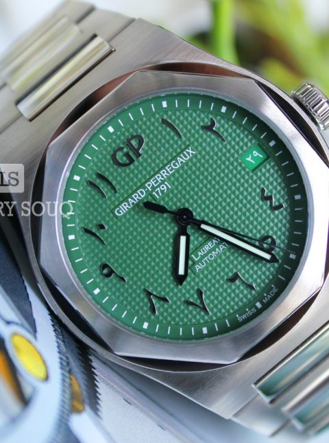 GIRARD PERREGAUX LAUREATO GREEN ARABIC DIAL LIMITED EDITION 42MM STAINLESS STEEL MEN'S WATCH