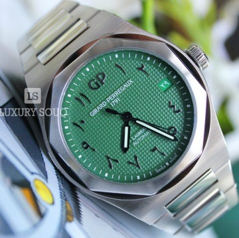 GIRARD PERREGAUX LAUREATO GREEN ARABIC DIAL LIMITED EDITION 42MM STAINLESS STEEL MEN?S WATCH