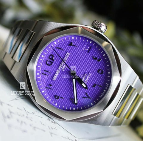 Girard Perregaux Pre-owned Laureato Purple Arabic Dial Limited Edition 42mm Stainless Steel Men's Watch
