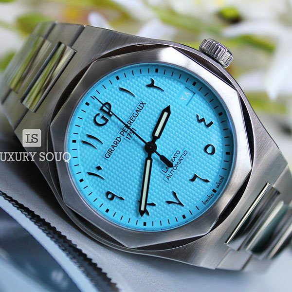 GIRARD PERREGAUX LAUREATO SKY BLUE ARABIC DIAL LIMITED EDITION 42MM STAINLESS STEEL MEN?S WATCH