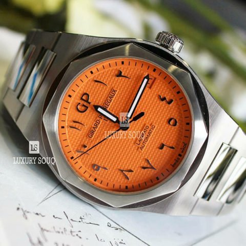GIRARD PERREGAUX LAUREATO ORANGE ARABIC DIAL LIMITED EDITION 42MM STAINLESS STEEL MEN'S WATCH