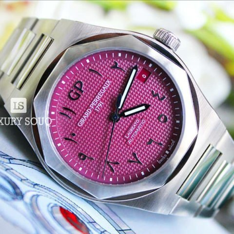 GIRARD PERREGAUX LAUREATO PINK ARABIC DIAL LIMITED EDITION 42MM STAINLESS STEEL MEN?S WATCH