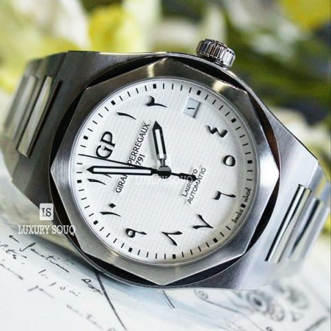 GIRARD PERREGAUX LAUREATO WHITE ARABIC DIAL LIMITED EDITION 42MM STAINLESS STEEL MEN?S WATCH