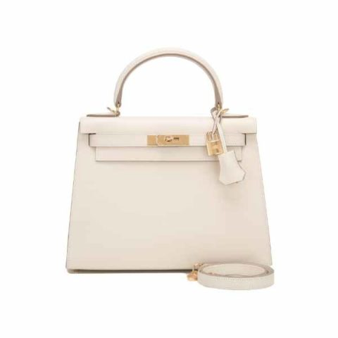 HERMES KELLY 28 SELLIER CRAIE EPSOM LEATHER GOLD HARDWARE HANDBAG