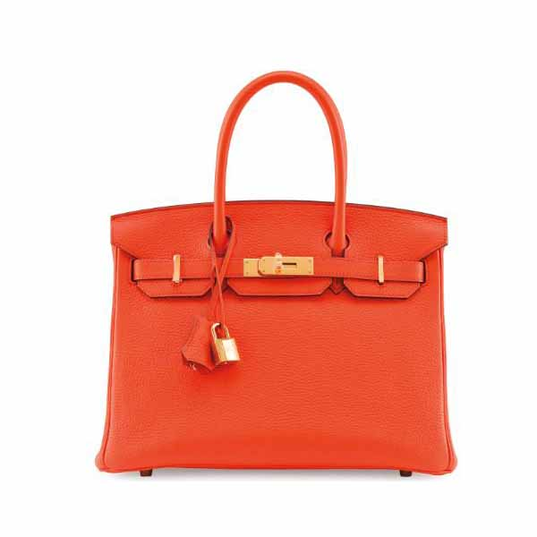 HERMES BIRKIN 30 ORANGE POPPY TOGO LEATHER WITH GOLD HARDWARE HANDBAG