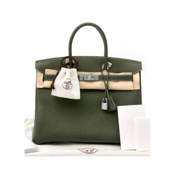 HERMES BIRKIN 35 CANOPEE GREEN TOGO LEATHER HANDBAG