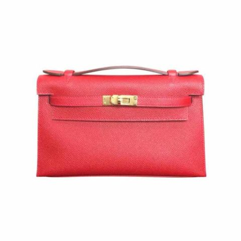 HERMES KELLY POCHETTE MINI ROUGE CASAQUE EPSOM GHW BAG