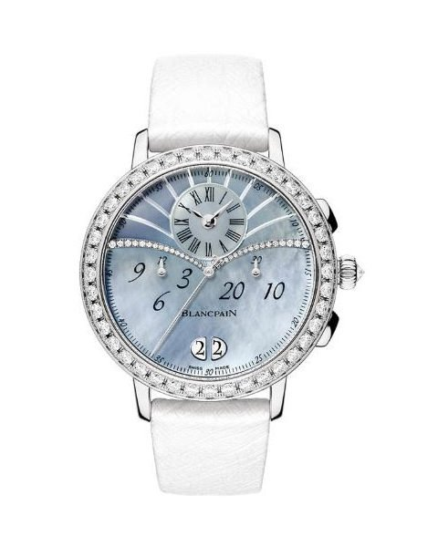 BLANCPAIN CHRONOGRAPH FLYBACK GRANDE DATE 38.6MM 18K WHITE GOLD LADIES WATCH