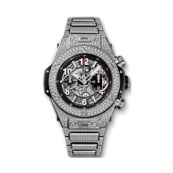 HUBLOT BIG BANG UNICO 45MM TITANIUM FULL DIAMOND MEN'S WATCH