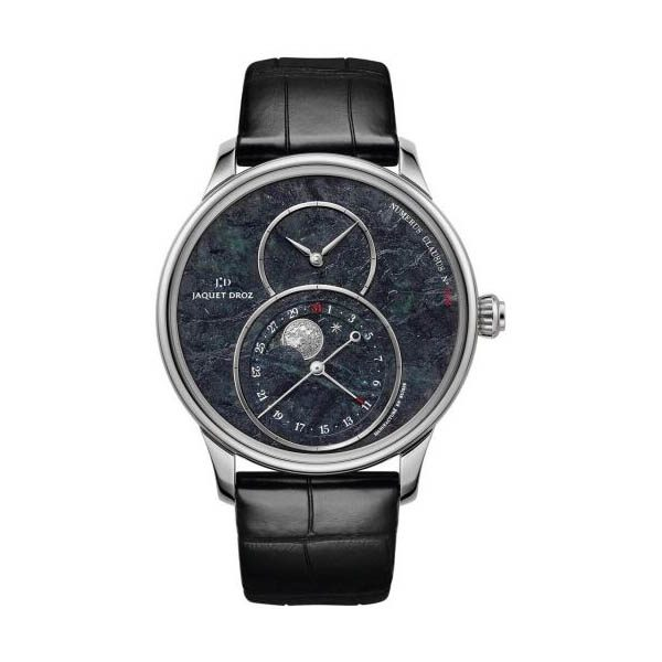 JAQUET DROZ GRANDE SECONDE MOON SERPENTINITE 43MM 18KT WHITE GOLD MEN'S WATCH