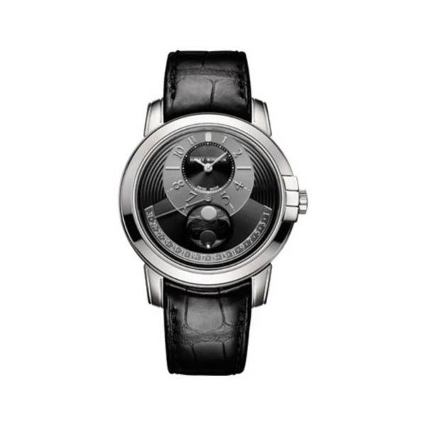 HARRY WINSTON MIDNIGHT MOON PHASE 42MM 18K WHITE GOLD MEN'S WATCH
