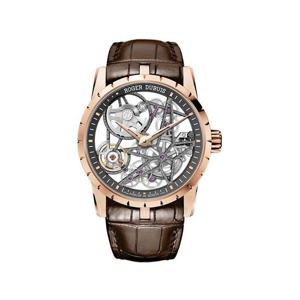 ROGER DUBUIS EXCALIBUR SKELETON 42MM 18K ROSE GOLD MEN'S WATCH