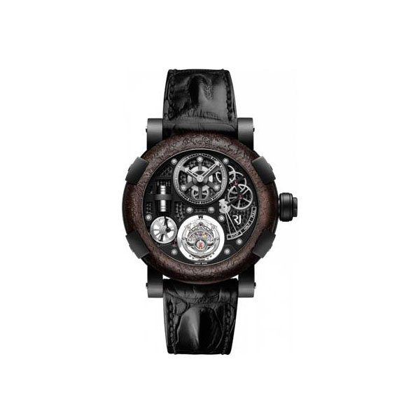 ROMAIN JEROME TITANIC STEAMPUNK TOURBILLON 50MM BLACK PVD WITH TITANIC RUSTED STEEL BEZEL LIMITED EDITION MEN'S WATCH