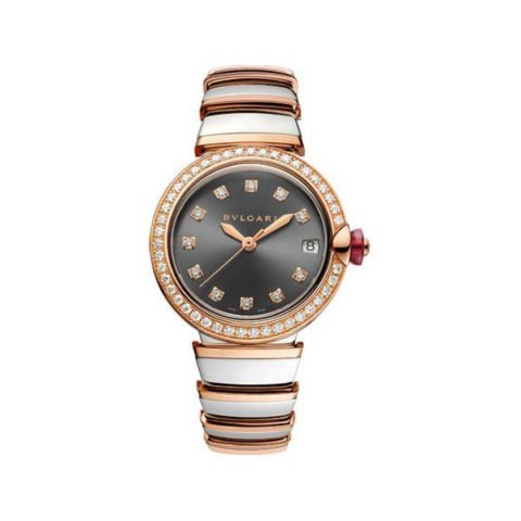 BVLGARI LVCEA 33MM STAINLESS STEEL/18K ROSE GOLD LADIES WATCH