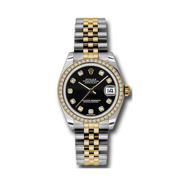 ROLEX DATEJUST BLACK DIAL 31MM STAINLESS STEEL & 18K YELLOW GOLD LADIES WATCH