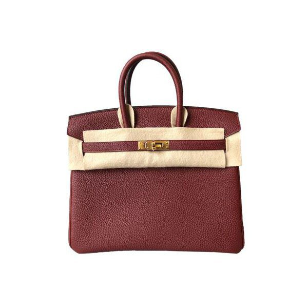 HERMES BIRKIN 25 ROUGE H TOGO LEATHER WITH GOLD HARDWARE HANDBAG