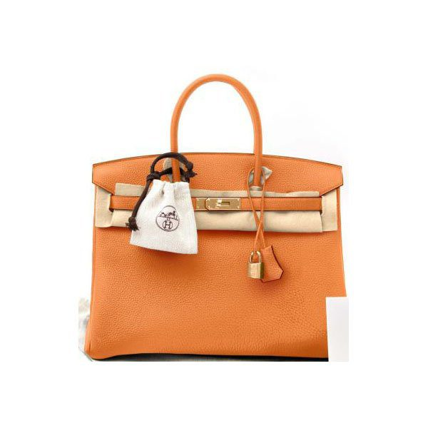 HERMES BIRKIN 25 ORANGE TOGO LEATHER GOLD HW HANDBAG